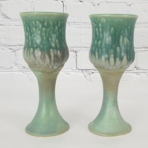 Pair of Handmade Pottery Goblets